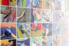 A set of many small images of hands with paint cans in the process of drawing graffiti. Street art abstract background collage stock photography