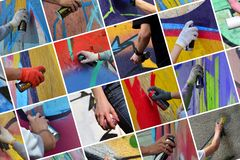A set of many small images of hands with paint cans in the process of drawing graffiti. Street art abstract background collage royalty free stock photos