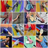 A set of many small images of hands with paint cans in the process of drawing graffiti. Street art abstract background collage stock photos