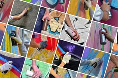 A set of many small images of hands with paint cans in the process of drawing graffiti. Street art abstract background collage stock image