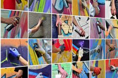 A set of many small images of hands with paint cans in the process of drawing graffiti. Street art abstract background collage royalty free stock photography