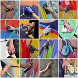 A set of many small images of hands with paint cans in the process of drawing graffiti. Street art abstract background collage stock images