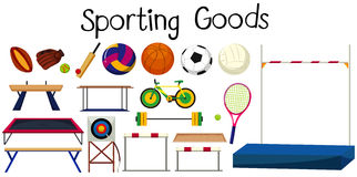 Set of many sport equipments Stock Photos