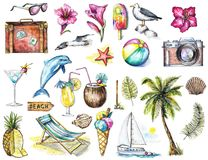 Watercolor set with many summer beach objects. Set with many summer beach objects on white background. Watercolor hand drawn illustration Stock Images