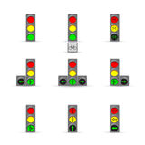 Set of many Traffic lights Royalty Free Stock Photos