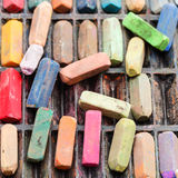 Set of many used artistic dry pastels Royalty Free Stock Images