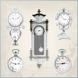 Set of many vintage retro clocks Stock Photos