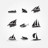 Set of many yacht icons Stock Image