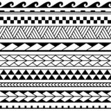 Set of maori ornaments bracelets tattoo.  Vector ethnic horizontal seamless pattern. stock illustration