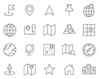 Set of map and cartography line vector icons. stock photo