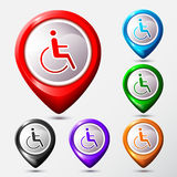 Set of Map Location disabled icon sign. Royalty Free Stock Images