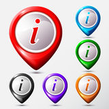 Set of Map Location Information signs. Info round symbol. Stock Photos
