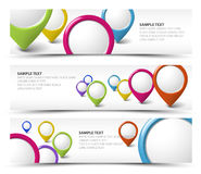 Set of map locator horizontal banners Royalty Free Stock Photos