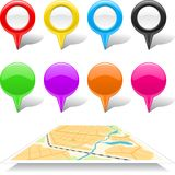 Set of map markers and abstract map Stock Photography