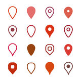 Set of map markers. Icons Royalty Free Stock Photography