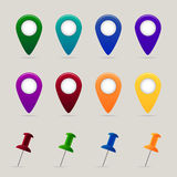 Set of map pins and markers. On grey background. Vector illustration Royalty Free Stock Photo