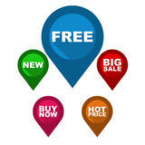 Set  map pointer / blue pin free / green pin new / red pin Stock Photography