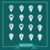 Set of Map Pointer icons for website and communication Royalty Free Stock Image