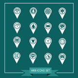 Set of Map Pointer icons for website and communication Royalty Free Stock Photography