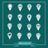 Set of Map Pointer icons for website and communication Royalty Free Stock Images