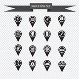 Set of Map Pointer icons for website and communication Stock Photo