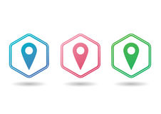 Set of map pointers. Set of colorful map pointers Stock Photography