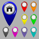 Set of map pointers. Set of colorful map pointers. Vector illustration Royalty Free Stock Images
