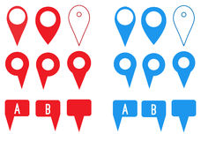 Set of map pointers flat icons Stock Photos