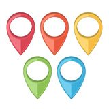 Set of Map Pointers. Gps Icons. Colored line art. Retro design. Stock Photo