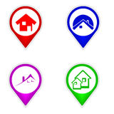 Set of map pointers house Stock Images