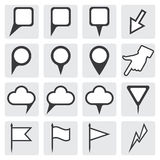 Set of map pointers. Navigation pointers collection. Stock Image