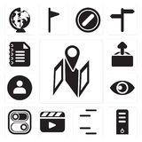 Set of Map, Server, Lines, Video player, Switch, View, User, Upload, Notepad, editable icon pack vector illustration