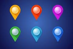 Set map szpilki w różnych kolorów stylach z 3d skutka piłką Fotografia Stock