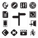 Set of, Map, Video player, Skip, Back, Exit, Smartphone, Restart stock illustration