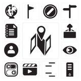 Set mapa, serwer, linie, odtwarzacz wideo, zmiana, widok, użytkownik, Upl ilustracja wektor