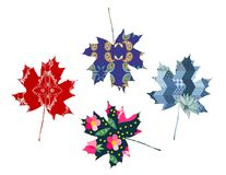 Set of maple leaves. Patchwork. Vector illustration Royalty Free Stock Image
