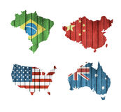 Set Of Maps With Wooden Flags Stock Photos