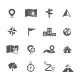 Set mapy nawigaci ikony wektoru ilustracja Zdjęcia Royalty Free