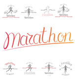 Set of marathon logotypes, long distance running and competition Stock Images