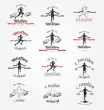 Set of marathon logotypes, long distance running and competition. Set of run club logos. Running man silhouette crossing the finish red tape Royalty Free Stock Images