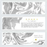 Set of marble banner. Set of hand drawn marble background with white pure places for your text or pictures. Set of three watercolor banners for your design Stock Photos