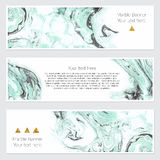 Set of marble banner. Set of hand drawn marble background with white pure places for your text or pictures. Set of three watercolor banners for your design Stock Image