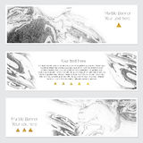 Set of marble banner. Set of hand drawn marble background with white pure places for your text or pictures. Set of three watercolor banners for your design Royalty Free Stock Image