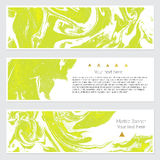 Set of marble banner. Set of hand drawn marble background with white pure places for your text or pictures. Set of three watercolor banners for your design Royalty Free Stock Images