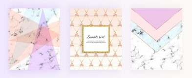 Set marble geometric designs posters in gold, cream, light blue, pastel pink. Trendy backgrounds for designs banner, card, flyer,. Invitation, party, birthday stock illustration