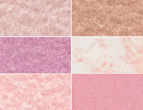 Set of marble textures. Set of pink marble textures and backgrounds Royalty Free Stock Photos