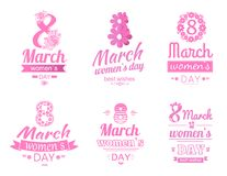 Set of 8 March Greeting Card International Holiday. Set of 8 March greeting cards design dedicated to International Womens day, blooming flowers and text on pink Stock Photography