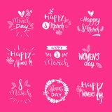 Set Of 8 March Holiday Stickers On Pink Background Creative Hand Drawing Lettering Text Woman Day Concept. Vector Illustration Stock Images