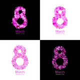 Set of March 8 - Womens Day design of greeting card templates. Symbol of International Women`s day with bright red purple pink hearts and flowers background Royalty Free Stock Photography