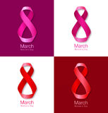 Set of March 8 - Womens Day Paper Design of greeting card templates. Royalty Free Stock Photography